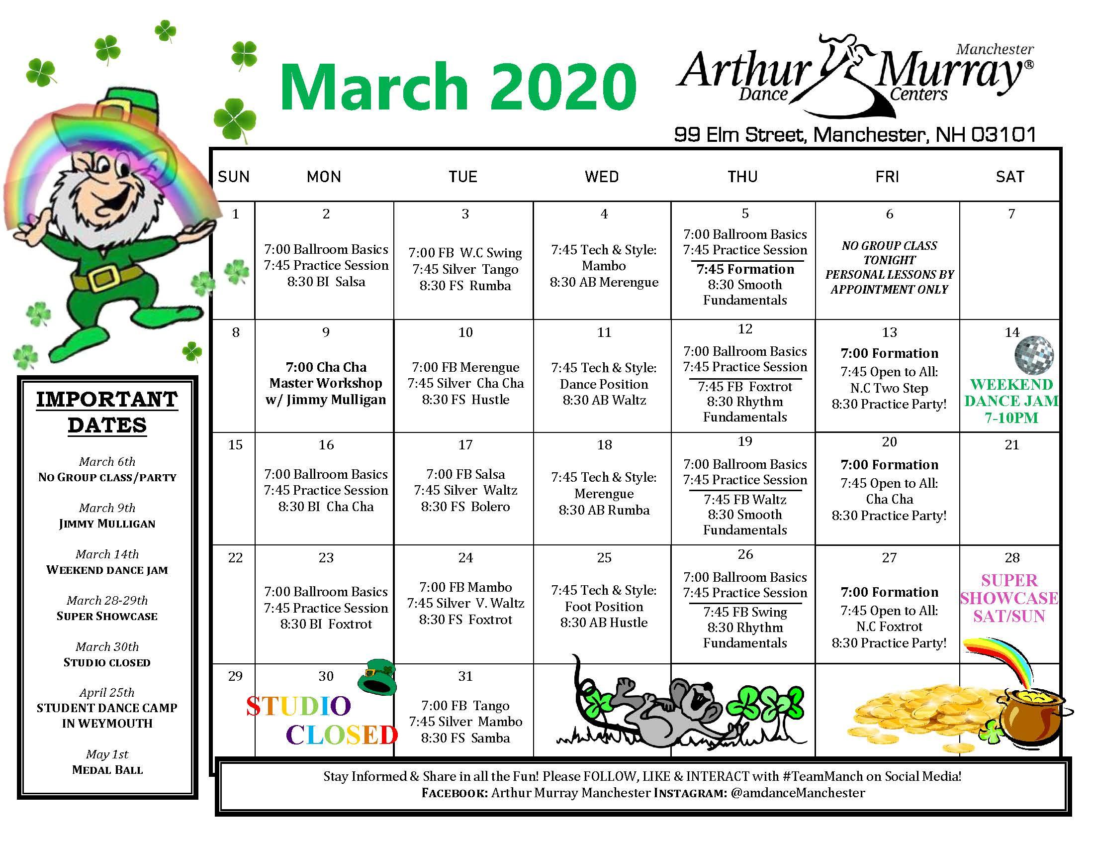 Manchester March Calendar