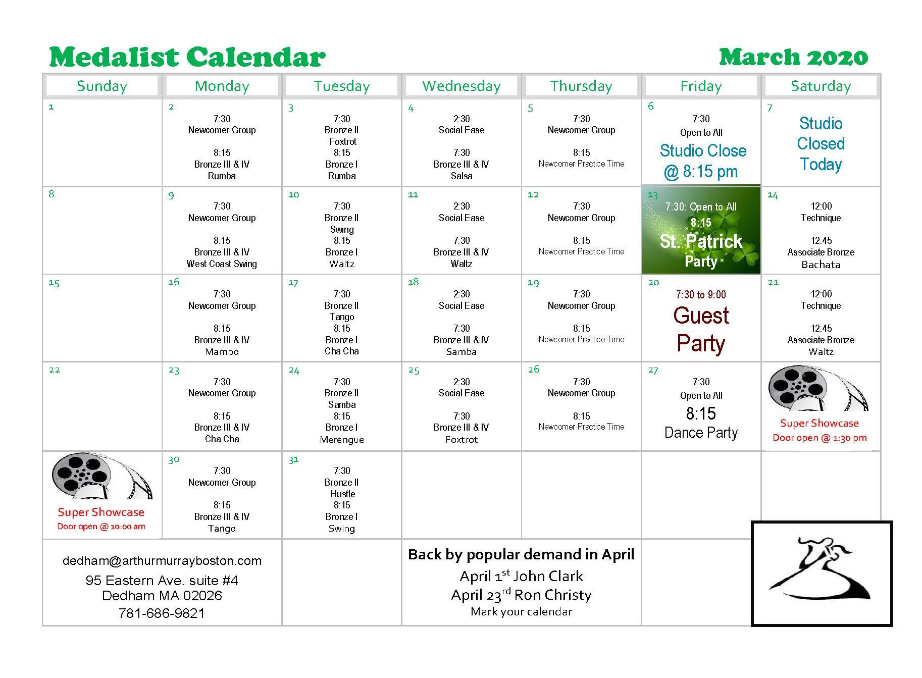 Dedham March 2020-Medalist Calendar