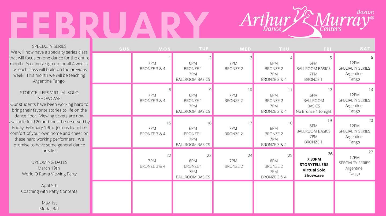 arthur murray boston february calendar