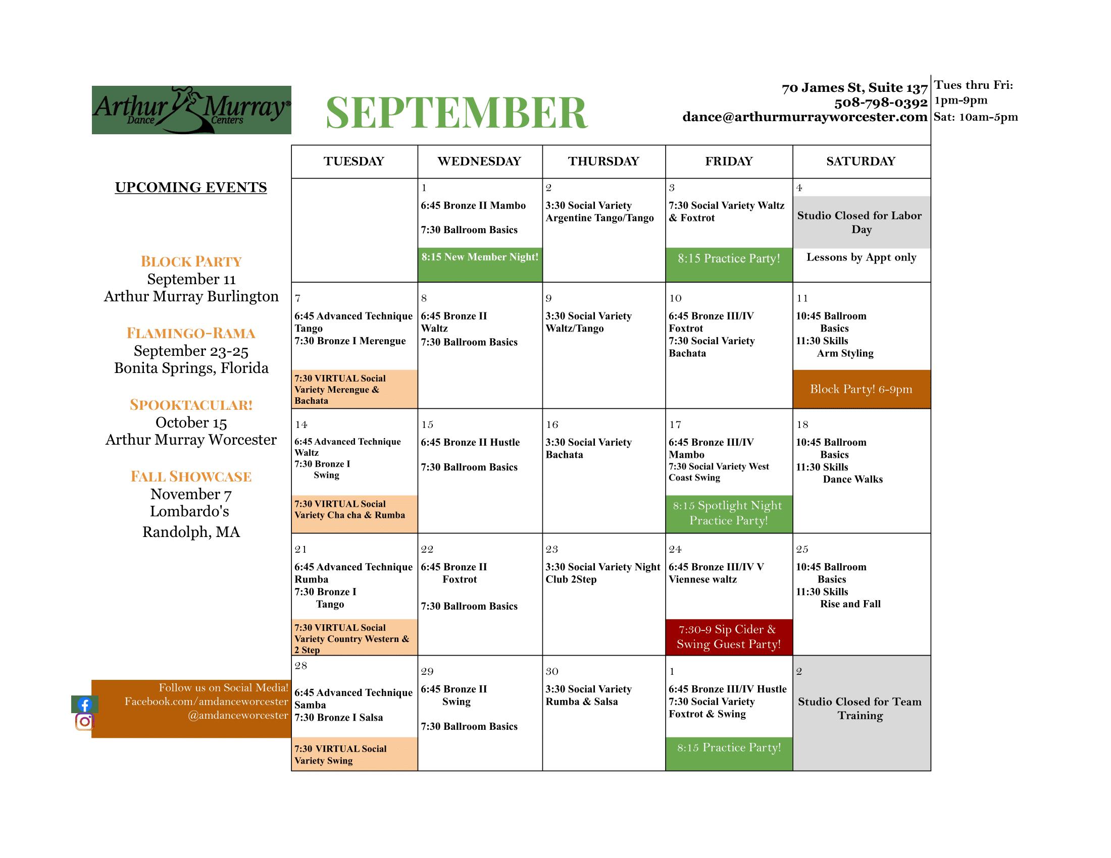 Dance Studio Worcester September Calendar