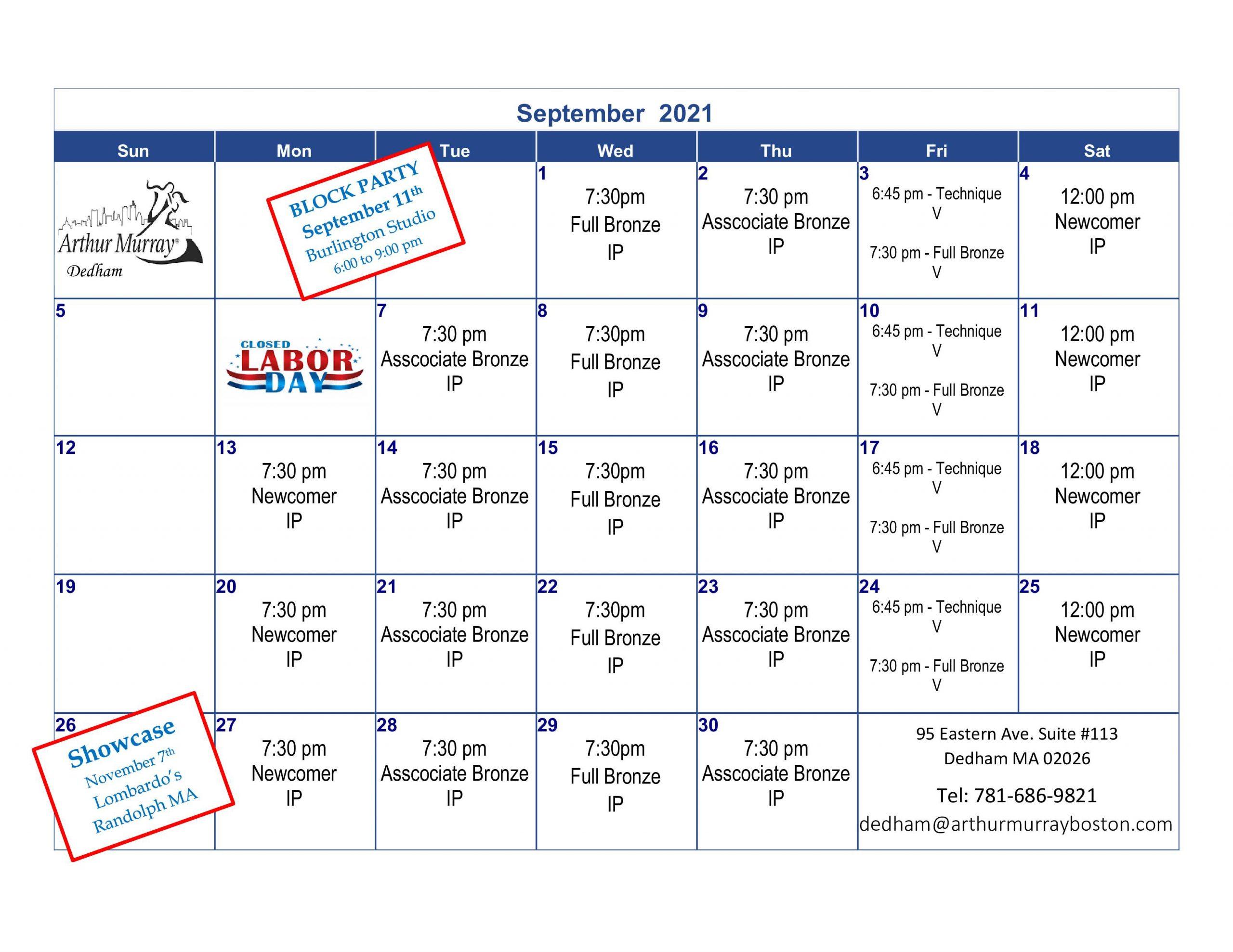 Dance Studio Dedham September Calendar