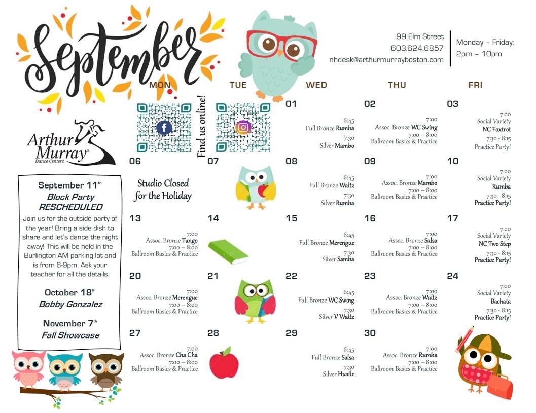 Dance Studio Manchester September Calendar