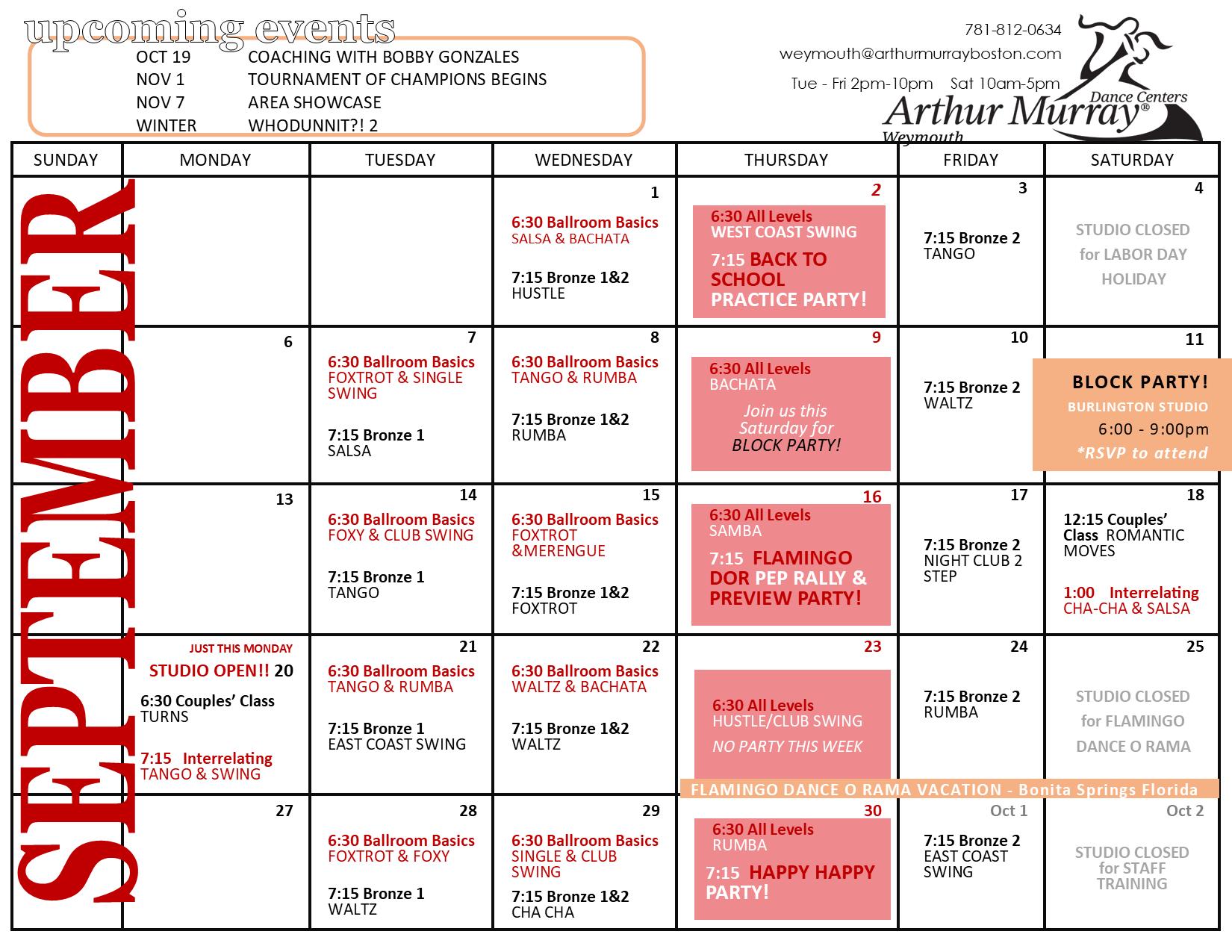 Dance Studio Weymouth September Calendar