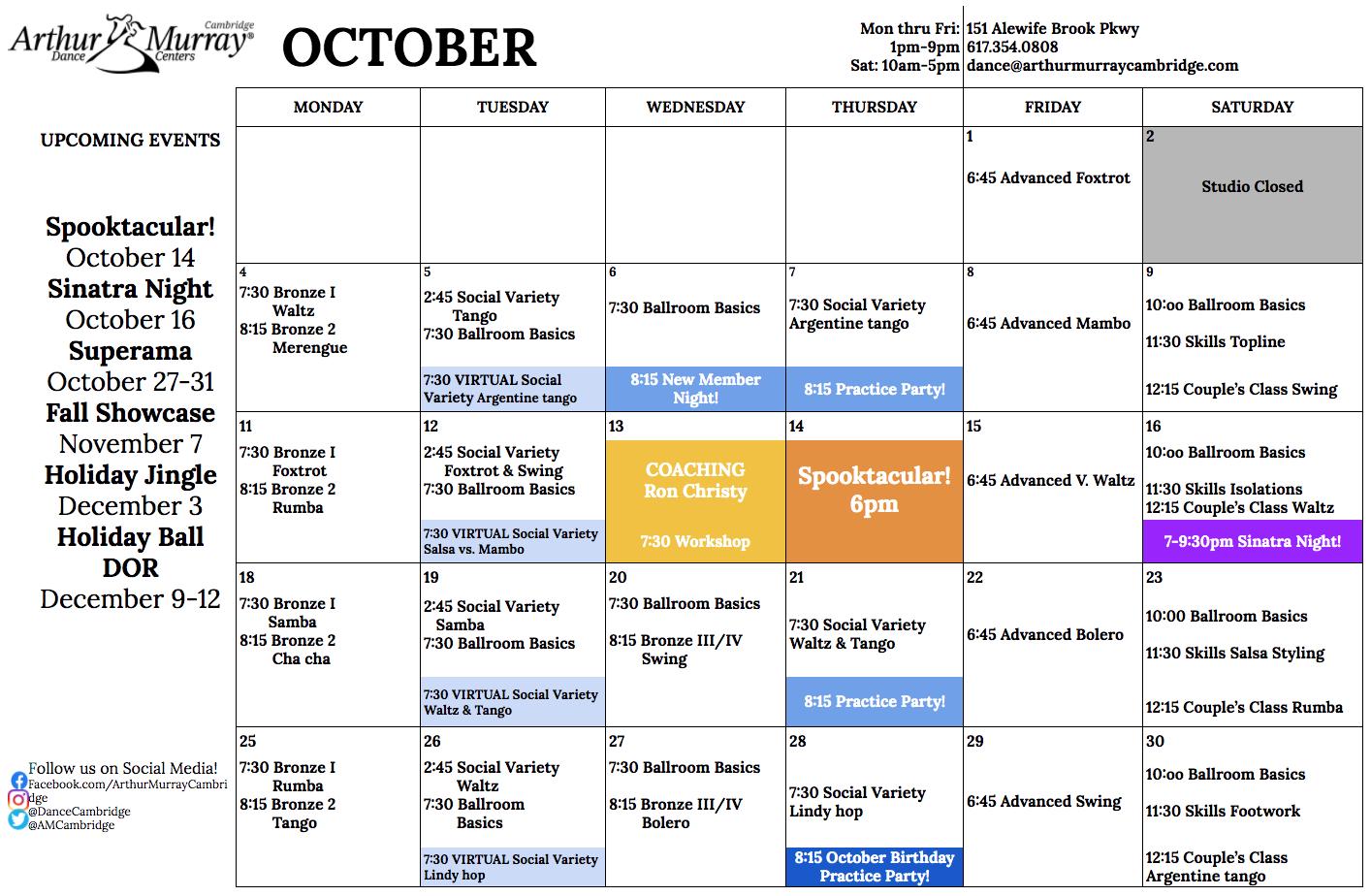 Cambridge October Calendar